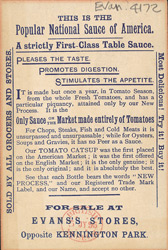 Advert for Gordon & Dilworth's Tomato Catsup, reverse side